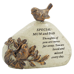 Special Mum & Dad Robin Bird Memorial Graveside Stone