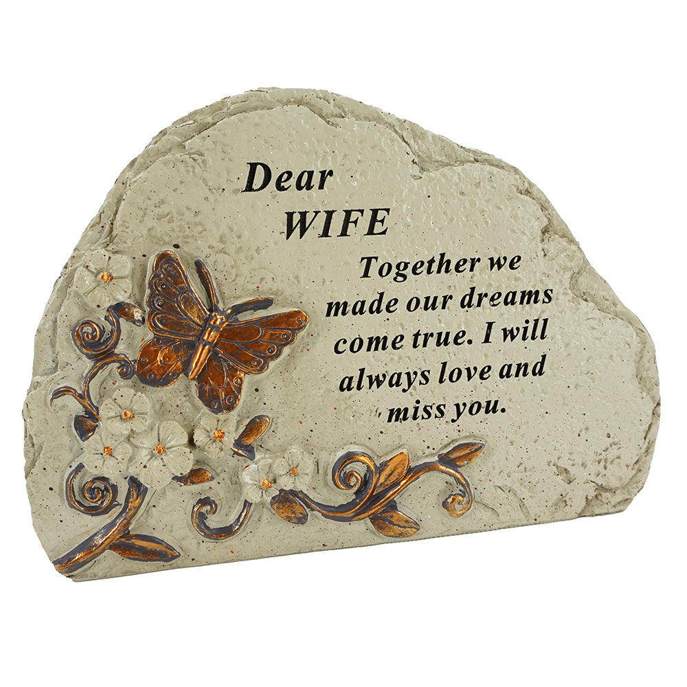 Special Wife Flower & Butterfly Memorial Graveside Stone