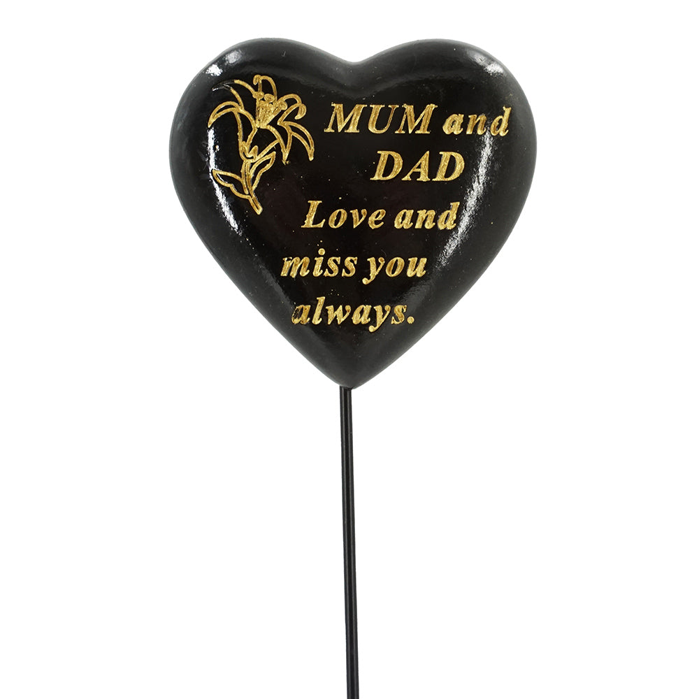 Special Mum & Dad Black & Gold Lily Heart Remembrance Stick