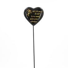 Load image into Gallery viewer, Special Mum & Dad Black & Gold Lily Heart Remembrance Stick