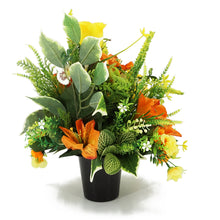 Load image into Gallery viewer, Birch Yellow Rose & Orange Lily Artificial Flower Memorial Arrangement