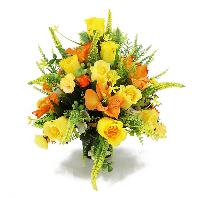 Birch Yellow Rose & Orange Lily Artificial Flower Memorial Arrangement