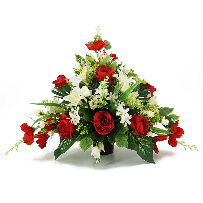 Ariel Large Red Rose Artificial Flower Memorial Arrangement