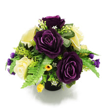 Load image into Gallery viewer, Wilma Purple Yellow Rose Artificial Flower Memorial Arrangement