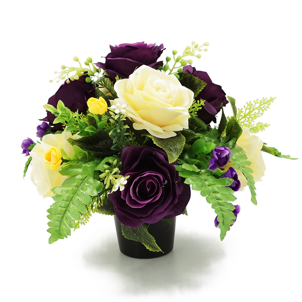 Wilma Purple Yellow Rose Artificial Flower Memorial Arrangement