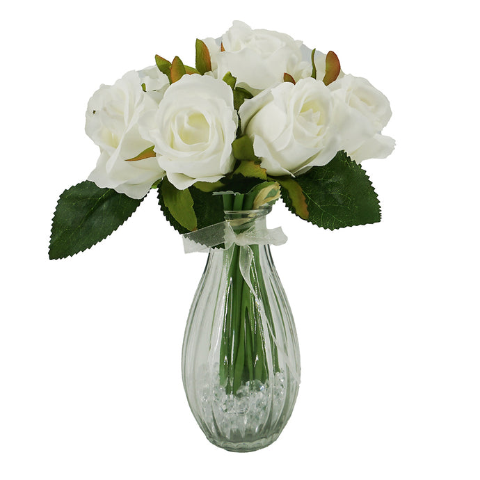 White Bud Rose Artificial Flower Arrangement