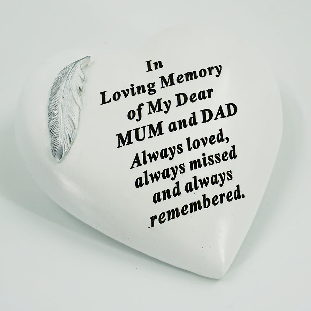 Special Mum & Dad Graveside Memorial Feather Heart