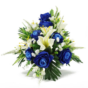 Piper Blue Rose & Lily Artificial Flower Memorial Arrangement