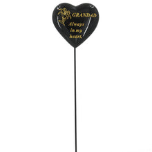 Load image into Gallery viewer, Special Grandad Black & Gold Lily Heart Remembrance Stick