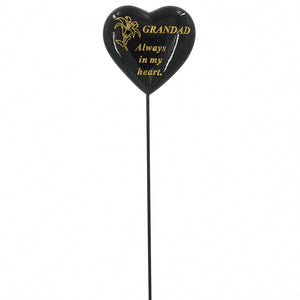 Special Grandad Black & Gold Lily Heart Remembrance Stick