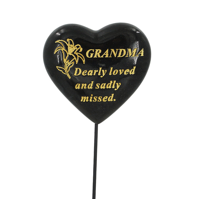 Special Grandma Black & Gold Lily Heart Remembrance Stick
