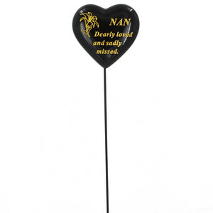 Special Nan Black & Gold Lily Heart Remembrance Stick