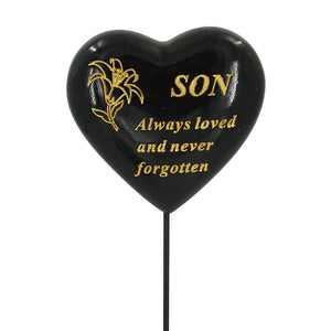 Special Son Black & Gold Lily Heart Remembrance Stick