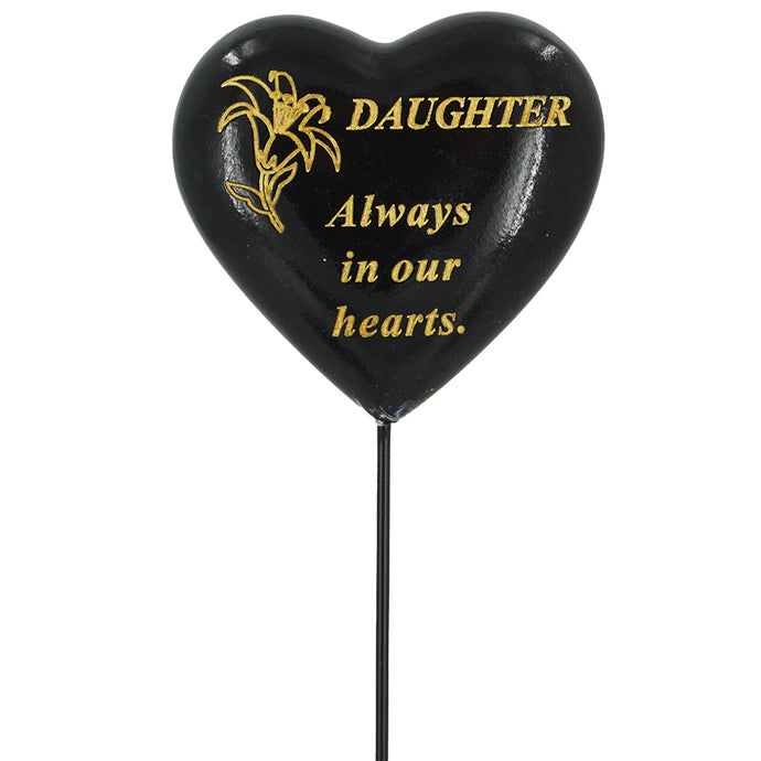 Special Daughter Black & Gold Lily Heart Remembrance Stick