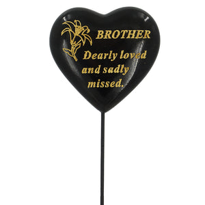 Special Brother Black & Gold Lily Heart Remembrance Stick