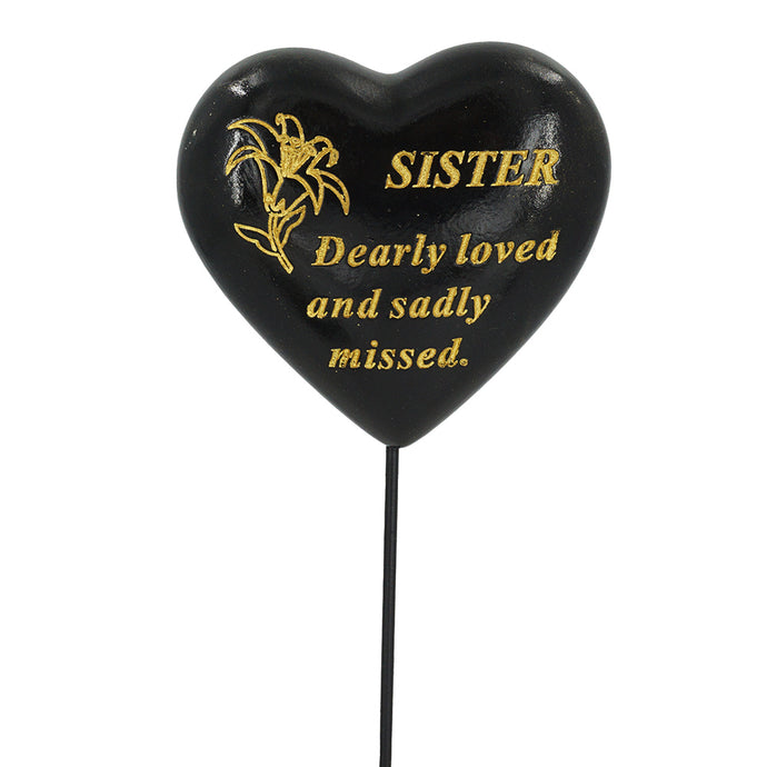 Special Sister Black & Gold Lily Heart Remembrance Stick