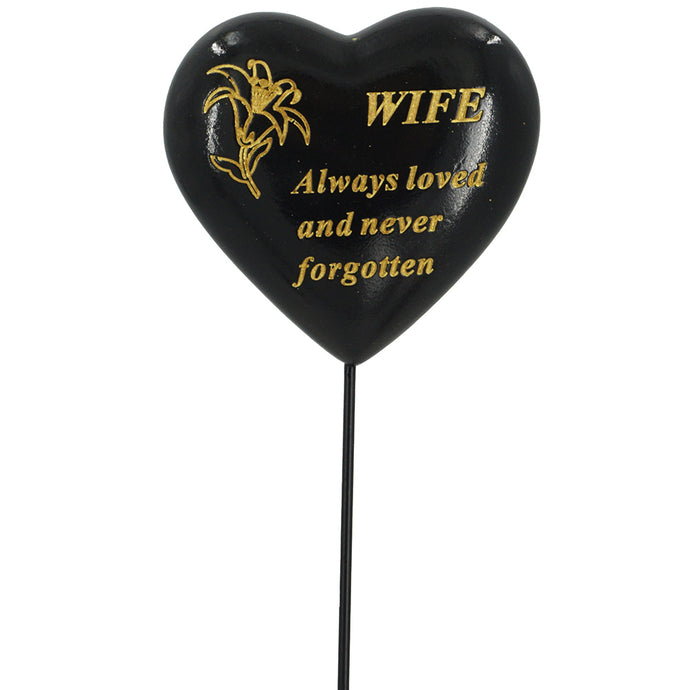 Special Wife Black & Gold Lily Heart Remembrance Stick