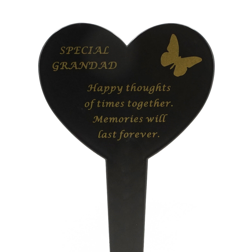 Special Grandad Memorial Heart Remembrance Verse Ground Stake