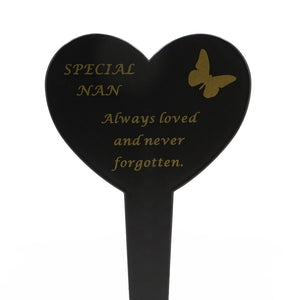 Special Nan Memorial Heart Remembrance Verse Ground Stake