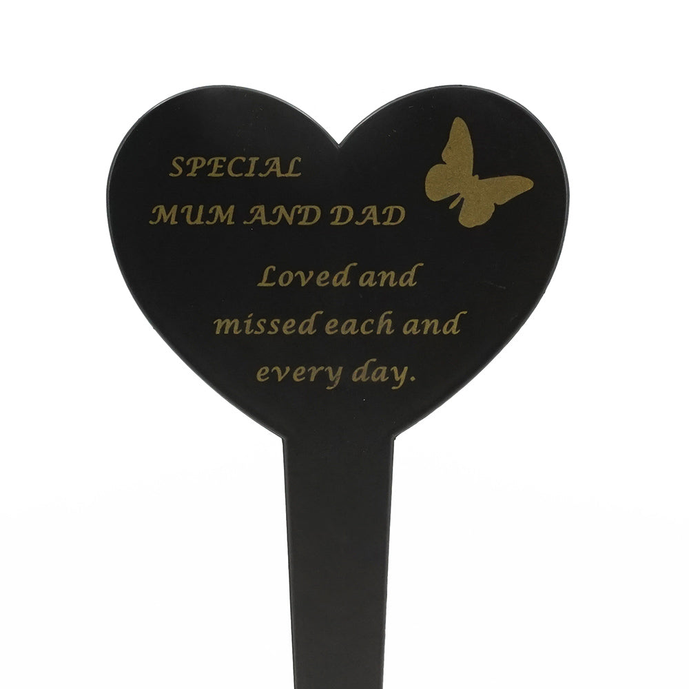 Special Mum & Dad Memorial Heart Remembrance Verse Ground Stake