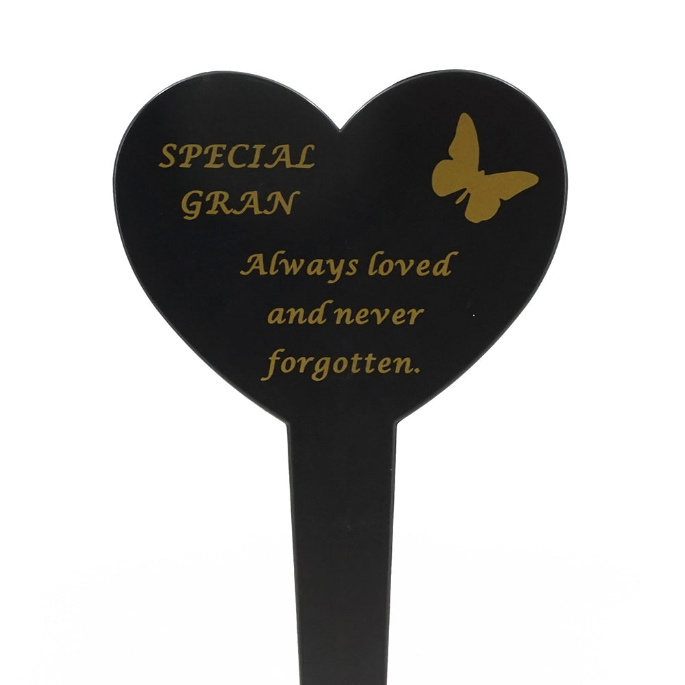 Special Gran Memorial Heart Remembrance Verse Ground Stake