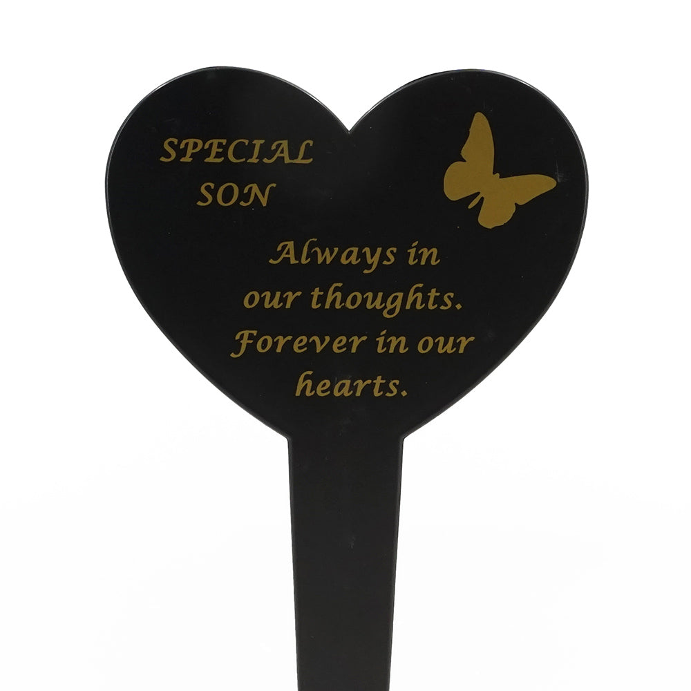 Special Son Memorial Heart Remembrance Verse Ground Stake