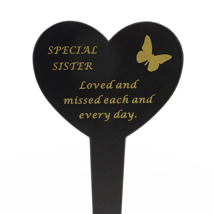 Special Sister Memorial Heart Remembrance Verse Ground Stake
