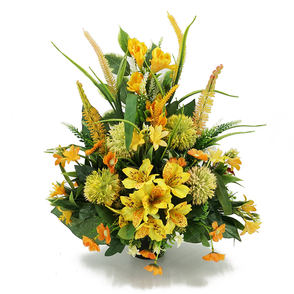 Jada Alstroemeria Yellow Artificial Flower Memorial Arrangement