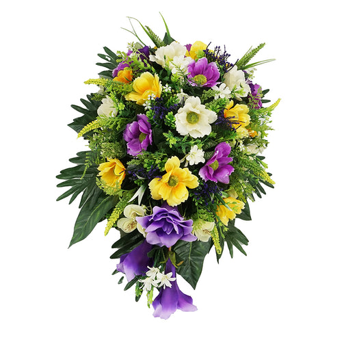 Purple & Yellow Lily Daisy Artificial Teardrop Flower Arrangement