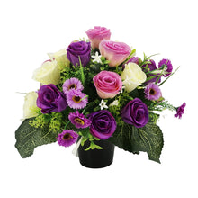 Load image into Gallery viewer, Mauve Artificial Flower Purple Rose Memorial Arrangement