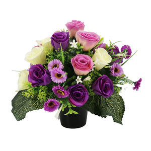 Mauve Artificial Flower Purple Rose Memorial Arrangement