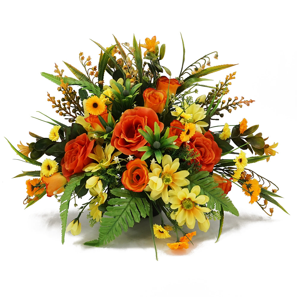 Mango Artificial Flower Orange Rose Memorial Arrangement