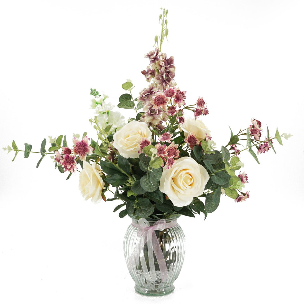 Darcy Blush Pink & Cream Rose Artificial Flower Arrangement In Glass Vase (66cm)