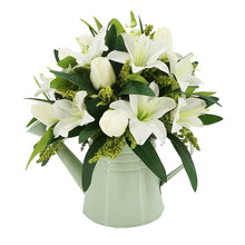 Load image into Gallery viewer, White Lily Artificial Flower Arrangement In Metal Green Watering Can Vase (33cm)
