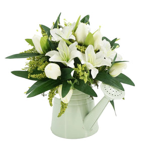 White Lily Artificial Flower Arrangement In Metal Green Watering Can Vase (33cm)