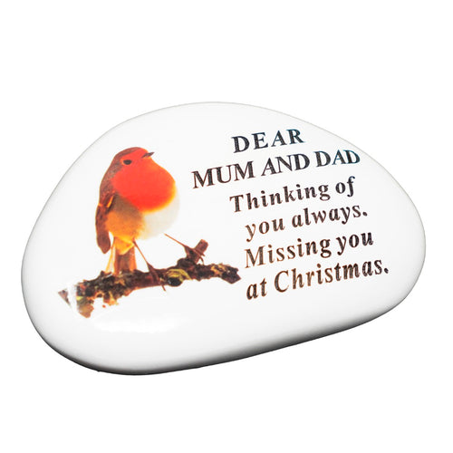 Mum & Dad Christmas Robin Memorial Plaque
