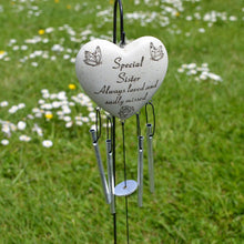 Load image into Gallery viewer, Special Sister Always Loved Sadly Missed Memorial Heart Wind Chime