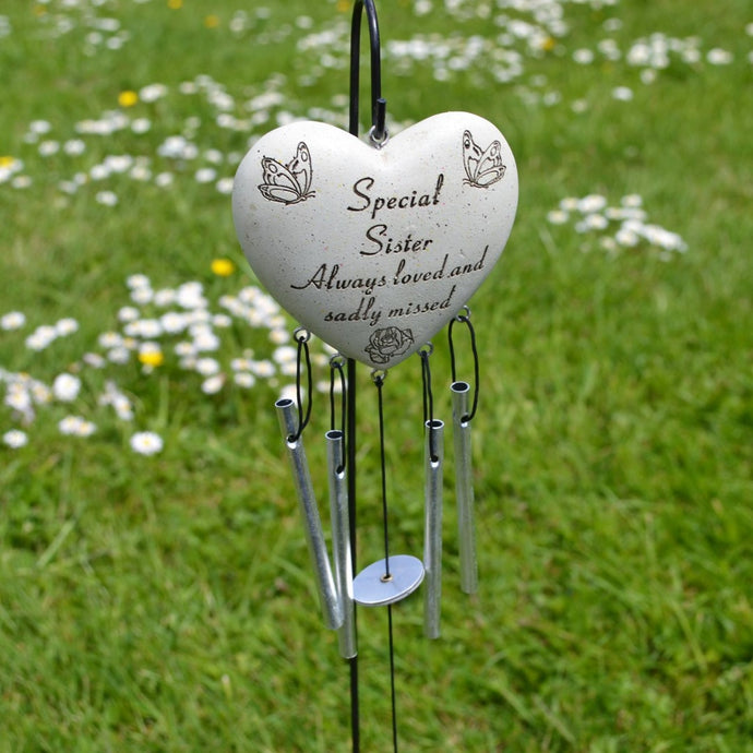 Special Sister Always Loved Sadly Missed Memorial Heart Wind Chime