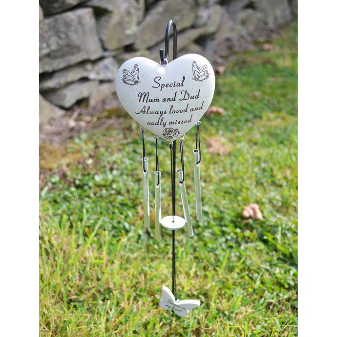 Special Mum & Dad Always Loved Sadly Missed Heart Wind Chime - Angraves Memorials