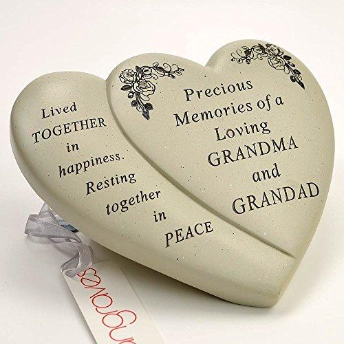 Grandma & Grandad Diamante Flower Double Heart Ornament - Angraves Memorials