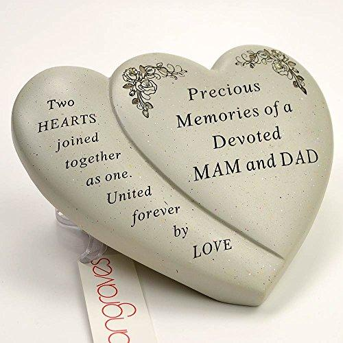 Mam & Dad Diamante Flower Double Heart Ornament - Angraves Memorials