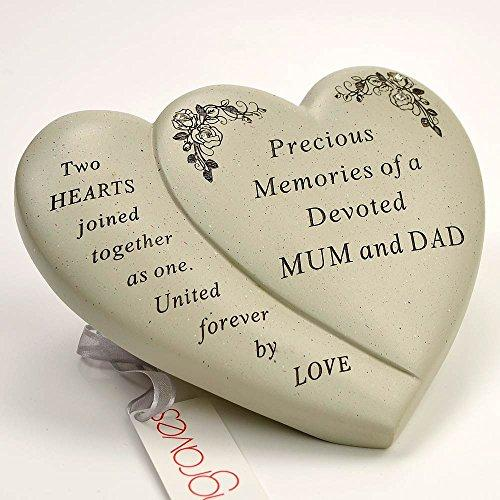 Mum & Dad Diamante Flower Double Heart Ornament - Angraves Memorials