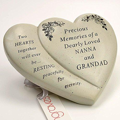 Nanna & Grandad Diamante Flower Double Heart Ornament - Angraves Memorials