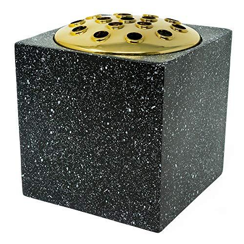 Black Speckled With Gold Lid Memorial Flower Vase