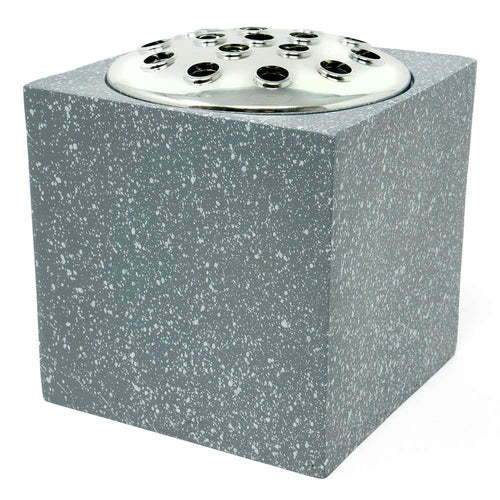 Grey Speckled With Silver Lid Memorial Graveside Flower Vase
