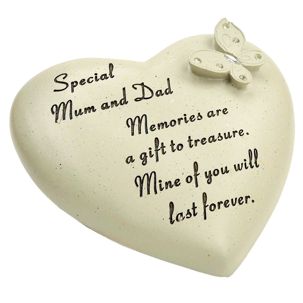 Special Mum & Dad Diamante Butterfly Heart Memorial Ornament