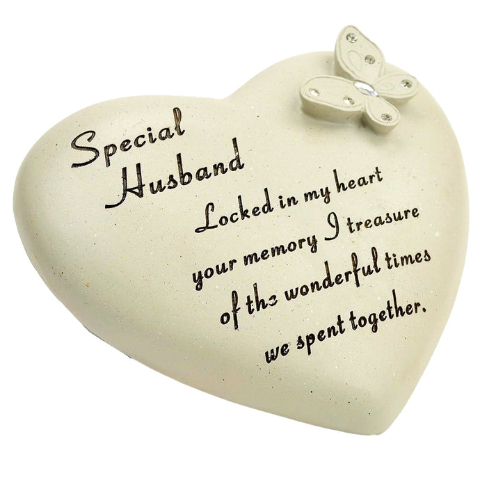 Special Husband Diamante Butterfly Heart Memorial Ornament