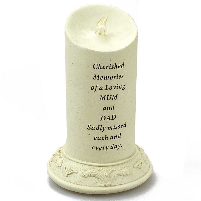Cherished Memories of a Loving Mum & Dad Solar Powered Memorial Candle - Angraves Memorials