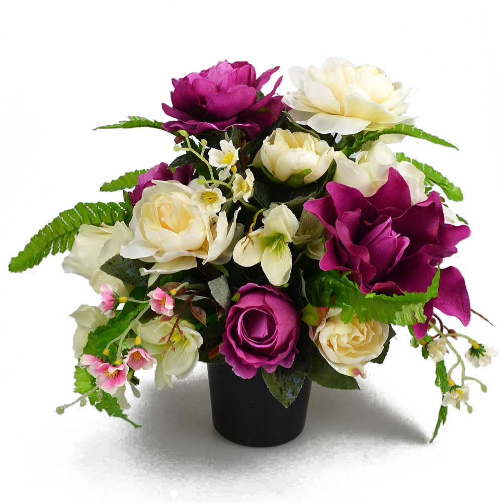 Jen Purple & Ivory Artificial Flower Memorial Arrangement