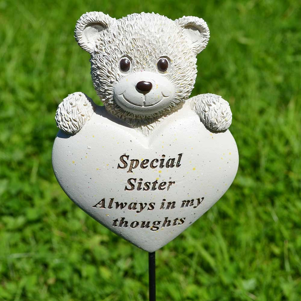 Special Sister Teddy Bear Heart Memorial Remembrance Stick